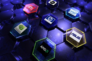 Hi-Tech Logos: AMD, HP, Ati, Nvidia, Asus Background for Android, iPhone and iPad