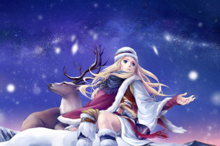 Anime Girl with Deer Background for Android, iPhone and iPad