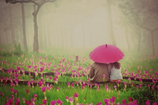 Couple Under Pink Umbrella Wallpaper for Android, iPhone and iPad