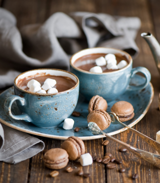 Hot Chocolate With Marshmallows And Macarons - Obrázkek zdarma pro iPhone 6 Plus
