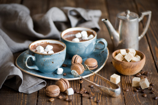 Hot Chocolate With Marshmallows And Macarons - Obrázkek zdarma