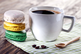 Coffee and macaroon Picture for Android, iPhone and iPad