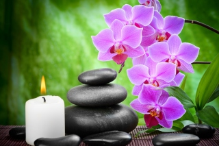 Pebbles, candles and orchids Background for Android, iPhone and iPad