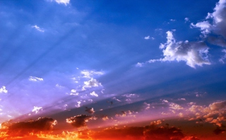 Blue Sky And Red Sunset Wallpaper for Android, iPhone and iPad