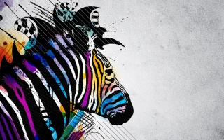 Free Colored Zebra Picture for Android, iPhone and iPad