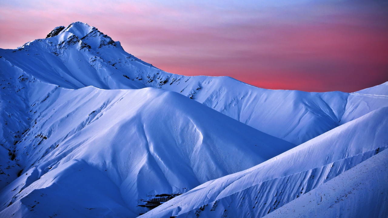Snowy Mountains And Purple Horizon