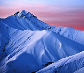 Snowy Mountains And Purple Horizon Background for iPad Air
