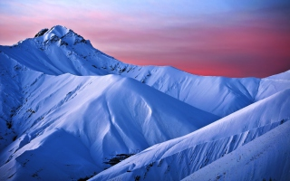 Snowy Mountains And Purple Horizon Wallpaper for Android, iPhone and iPad