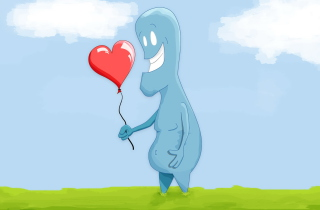 Blue Monster In Love Background for Android, iPhone and iPad