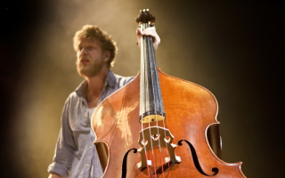 Man With Contrabass Wallpaper for 1024x600