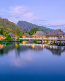 French Polynesia Beach Resort wallpaper 128x160