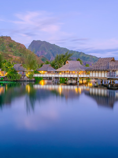 French Polynesia Beach Resort wallpaper 240x320