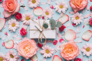 Gift and Roses Background for 1080x960
