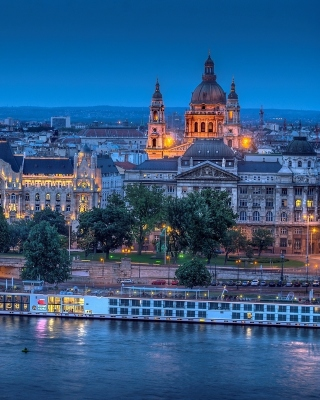 Free Budapest St Stephens Basilica and Danube Chain Bridge Picture for Nokia Asha 305