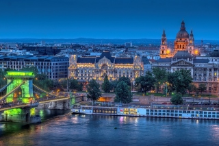 Budapest St Stephens Basilica and Danube Chain Bridge Background for Android, iPhone and iPad