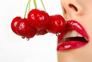 Free Cherry and Red Lips Picture for Android, iPhone and iPad