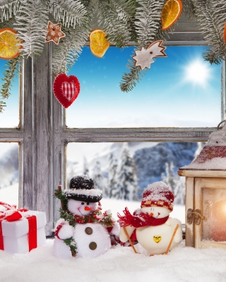 Winter Window Decoration Wallpaper for Nokia C1-01