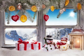 Kostenloses Winter Window Decoration Wallpaper für Android, iPhone und iPad
