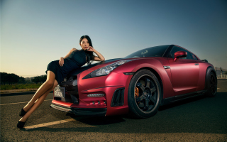 Kostenloses Nissan GT-R Korean Model Girl Wallpaper für Android, iPhone und iPad