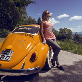 Girl with Volkswagen Beetle Wallpaper for 1024x1024