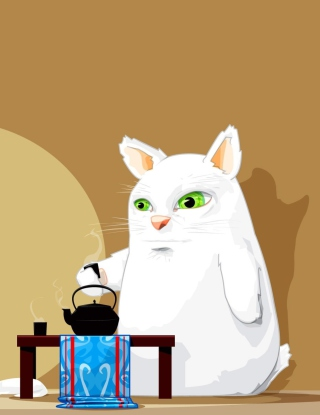 Free Tea Cat Picture for 360x640
