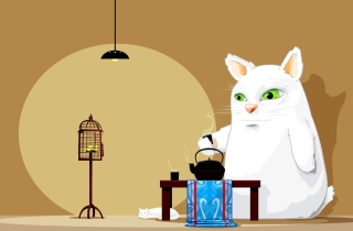 Tea Cat Background for Fullscreen Desktop 1024x768