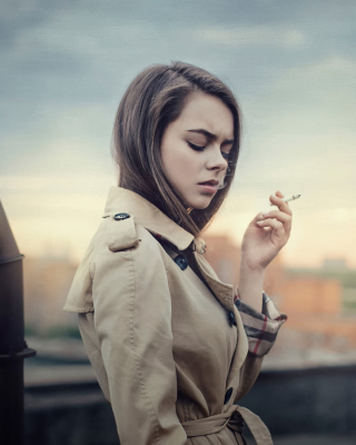 Smoking Girl Background for Nokia Asha 308