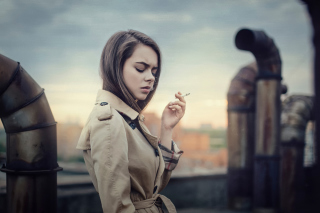 Smoking Girl Background for Android, iPhone and iPad