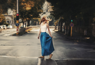 Girl In Long Blue Skirt On Street Background for Android, iPhone and iPad