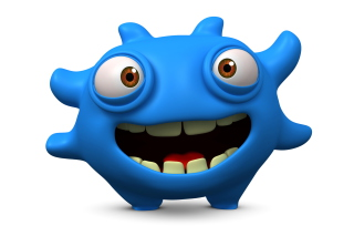 Cute Blue Cartoon Monster Wallpaper for Android, iPhone and iPad