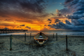Boat On Beach At Sunset Hdr Wallpaper for Android, iPhone and iPad