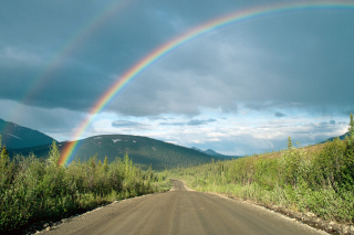 Rainbow In Alaska Background for Android, iPhone and iPad