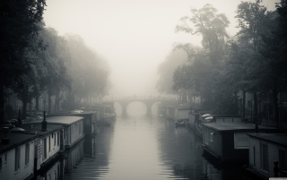 Misty Autumn In Amsterdam Wallpaper for Android, iPhone and iPad