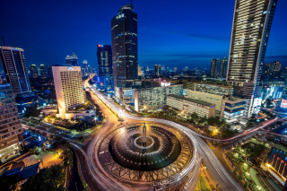 Bundaran Hotel Indonesia near Selamat Datang Monument Wallpaper for Android, iPhone and iPad