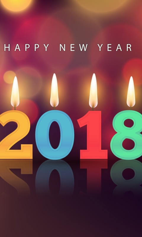 New Year 2018 Greetings Card with Candles wallpaper 480x800