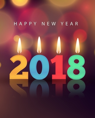 Kostenloses New Year 2018 Greetings Card with Candles Wallpaper für Nokia Lumia 925