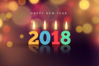 New Year 2018 Greetings Card with Candles Background for Android, iPhone and iPad