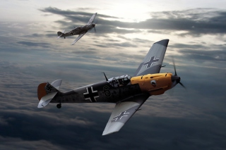 Messerschmitt Bf 109, German World War II fighter aircraft papel de parede para celular para Widescreen Desktop PC 1600x900