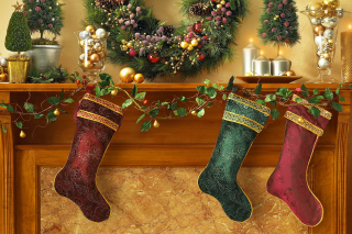 Kostenloses Christmas stocking on fireplace Wallpaper für Android, iPhone und iPad