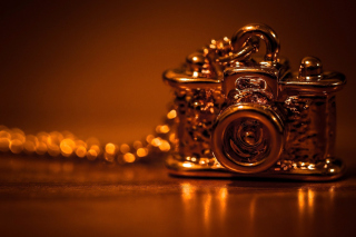 Vintage Golden Camera Background for Android, iPhone and iPad