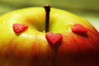 Heart And Apple Wallpaper for Android, iPhone and iPad