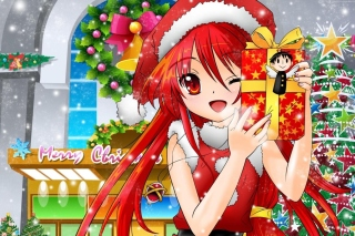 Christmas Anime girl Wallpaper for Android, iPhone and iPad