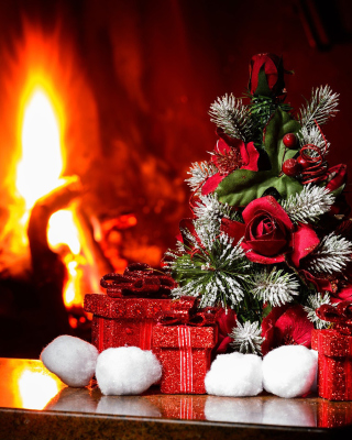 Christmas near Fireplace Wallpaper for Nokia Asha 310