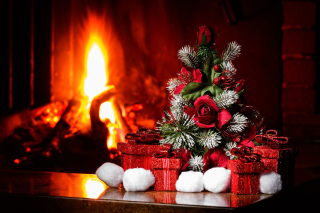 Christmas near Fireplace Background for Android, iPhone and iPad