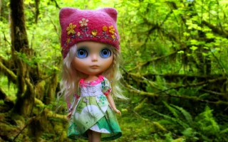 Cute Blonde Doll In Forest Background for Android, iPhone and iPad