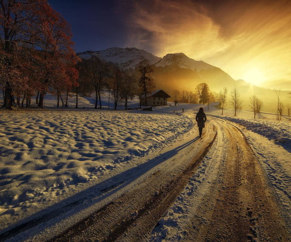 Winter Sunrise wallpaper 960x800