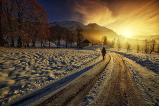 Winter Sunrise sfondi gratuiti per Samsung Galaxy Tab 4