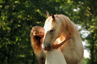 Blonde Girl And Horse Background for Android, iPhone and iPad