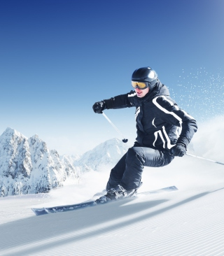 Skiing In Snowy Mountains Wallpaper for Nokia C-5 5MP
