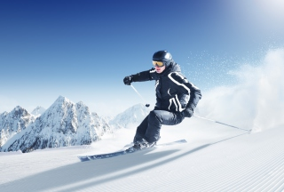 Skiing In Snowy Mountains Background for Android, iPhone and iPad